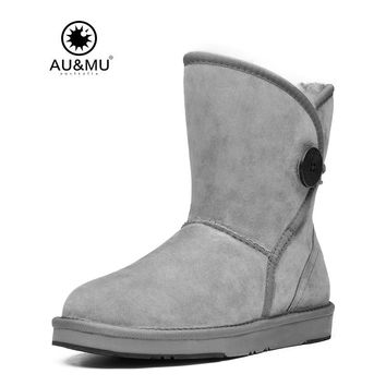 2017 AUMU Australia Nubuck Suede Shearling Pull On Thick Platform Round Toe Snow Winter Boots UG N361