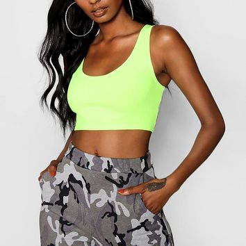 Molly Neon Crepe Crop Top | Boohoo