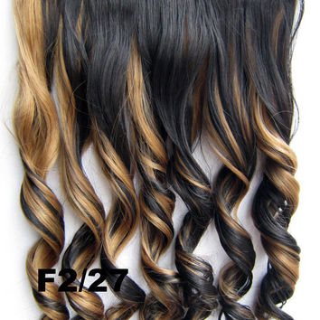 Bath&Beauty Clip in synthetic hair extension hairpieces 5 clips in on wavy slice curly hairpiece GS-888 F2/27,Hair Care,fashion COSPLAY ombre 1PCS