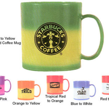 Mood Coffee Mugs: Custom-Imprinted Plastic/Acrylic Mood Mugs Change Color with Your Favorite Hot Liquids