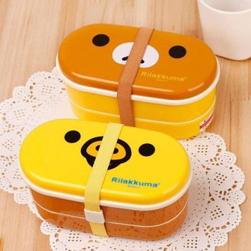 DCCKL72 Cute Cartoon Animal Bento Lunch Box Set Double Layer Food Container For Kids Children Microwave Rilakkuma & Yellow Bird Meal Box