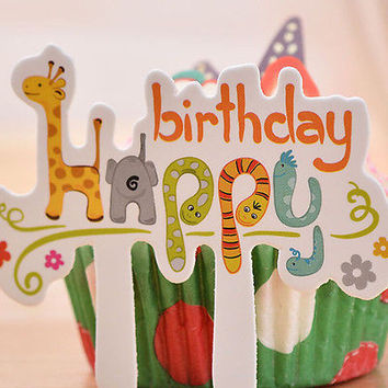 30X  Happy Birthday Cake Cupcake Cake Topper Food Topper Shower Party Pick HU