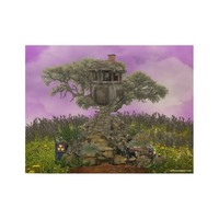 dystopian treehouse wood poster