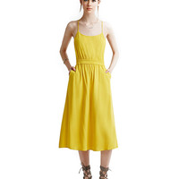 Spaghetti Strap Ruched A-line Midi Dress with Pockets