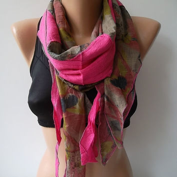 Cotton scarf shawl hot pink