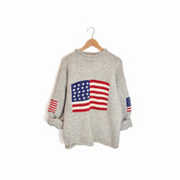 Vintage American Flag Wool Sweater in Red White Blue & Gray - xl