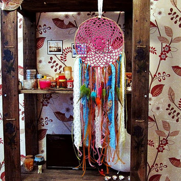 Bohemian Dreamcatcher - Once Upon a Dream -  Festive Colorful Dreamcatcher - Made To Order- Boho Hippie Bedroom Decor - Nursery Decor