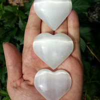 Selenite Heart Palm Stones >> Natural, Hand Carved, White Selenite Crystal Hearts (One Stone)