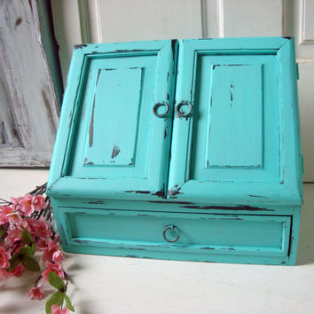 Aqua Desk Organizer with Doors, Beach Cottage Aqua Blue Mail Holder, Large Home or Office Organizer, Craft Storage Box, Wooden Storage Box