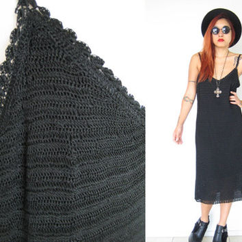 Vintage 90's crochet black grunge punk goth new wave rock 'n roll loose fit slouchy midi dress