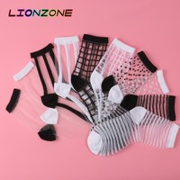 LIONZONE 10Pairs/lot Lace Transparent Crystal Women Socks Different Style Comfy Sheer Silk Harajuku Funny Socks Calcetines Mujer