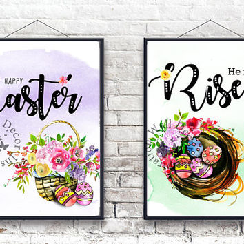 Happy Easter | He is Risen | Holidays | Quote | Art Print | Typography | Home Decor Print | Printable