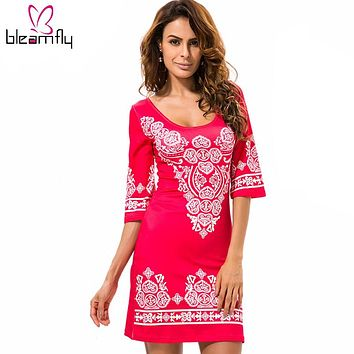 Sexy Club Dress 2017 Summer Vintage Bodycon Dresses Women Flowers Printed Sexy Elegant boho Casual Party Short tunique femme