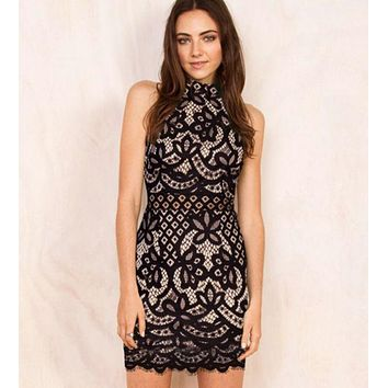 VONEJ8 HOT HIGH COLLAR LACE DRESS