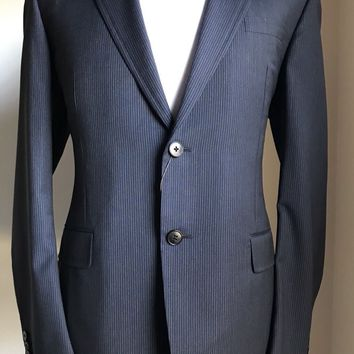 New $3145 Gucci Wool Suit Blue/Gray Stripped 42R US ( 52R Eu) Italy