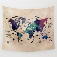 Oceans Life World Map  Wall Tapestry by Jbjart