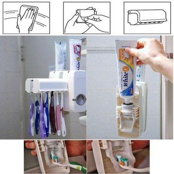 CREYLD1 Fashion Home Automatic Toothpaste Dispenser Toothbrush Holder Bathroom products Wall Mount Rack Bath set Toothpaste Squeezers