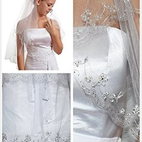 Gogh 2T 2 Tier Silver Lined Beaded Edge Fingertip Length Bridal Wedding Veil 09