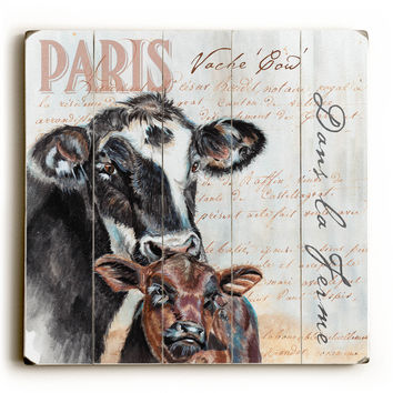 Dans La Ferme Cow by Artist Jennifer Redstreake Wood Sign
