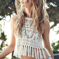 Creamy Cut-out Knit Hook Flower Tassels Beach Crop Tops