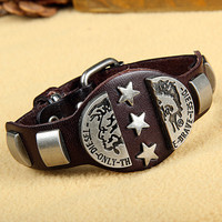 Fashion Punk  Rivets Adjustable Leather Wristband Cuff Bracelet - Great for Men, Women, Teens, Boys, Girls 2710s