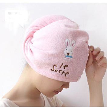 Super absorbent Lovely Hair Towel Turban Hair-Drying Cap Bathrobe Hat Head Wrap Quick Dry Bathroom Tools