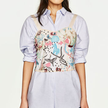 EMBROIDERED SEMI-SHEER TOP