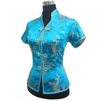 New Arrival Light Blue Female V-Neck Shirt top Chinese Classic Ladies Satin Blouse Size S M L XL XXL XXXL Mujer Camisa JY044-4