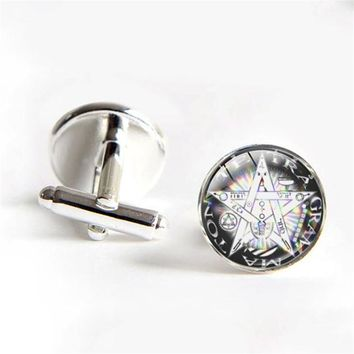 Pentacle cufflinks Wicca cufflinks for mens Wiccan Jewelry Occult Charm Pentagram shirt cufflink Groomsmen Gifts gifts souvenirs