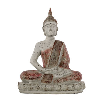 Fiberstone Meditating Buddha Figurine with Pointed Ushnisha in Dhyana Mudra on Lotus Base Distressed Concrete Finish Light Gray