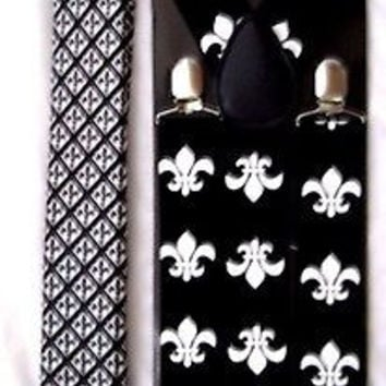FLEUR DE LIS NEW ORLEANS SAINTS NeckTie & Wide Adjustable Y-Back Suspenders-New2