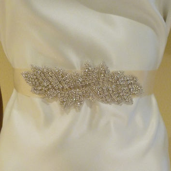 Bridal Rhinestone Sash ISABELLA Bridal Belt by BellaCescaBoutique