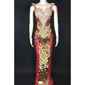 Beautiful Entrance Red Diamante Maxi Dress