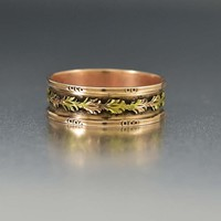 Edwardian Rose Gold Hawthorn Leaf Band Ring C 1900