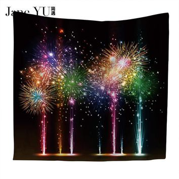 JaneYU Home Polyester Fabric Night Fireworks Tapestry Wall Hanging Throw Bohemian Door Curtain home decoration accessories