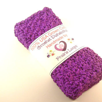 Cotton Crochet Dishcloths Washcloths Radiant Orchid Purple Set of 3 crocheted rags dish scrubbies