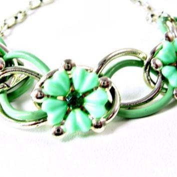 586be5df5 Mint Green Flowers Necklace with Emerald Rhinestones Enamel Link. Vintage  Necklaces For Sale