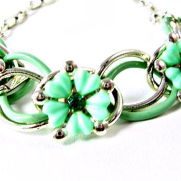 Mint Green Flowers Necklace with Emerald Rhinestones Enamel Links