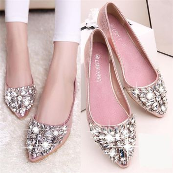women casual Crystal Fashion women shoes solid patent PU shoes women flats 2016 summer style ballet princess shoes