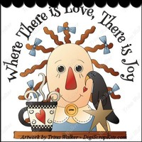 Love & Joy 1 Clip Art Single : Digi Scrap Kits - Trina Walker (Clark) primitive, raggedy ann, crows