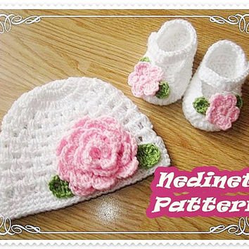 Crochet pattern, Crochet baby hat crochet shoes set PATTERN, crochet hat pattern, crochet slippers, crochet baby shoes pattern, 0-12 months