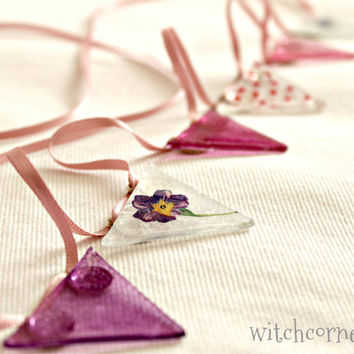 Glass bunting in Pink and Purple with Polka dots and Flowers on a  Pink ribbon