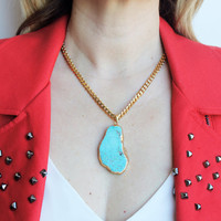 Turquoise Agate Gold Pendant Statement Necklace - Stainless Steel - Mur Blanc