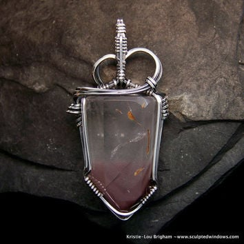 Mauve Lithium Phantom Quartz Pendant a Wire Wrapped crystal Point in solid Sterling Silver