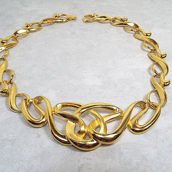 Vintage Necklace Erwin Pearl PEP FO Inc Gold Tone Metal Link Swirl Design Runway Diva Retro 1980s Womens Jewelry