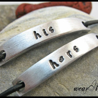 Couples Bracelet His and Hers Custom Hand Stamped Name.. with leather cord.. Set of two bracelet.. Personalized / Custom bracelets..