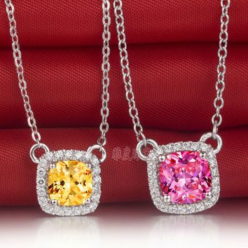 Luxury quality 1 carat cushion cut  Yellow Pink princess necklace,high simulation diamond necklace, 925 silver necklace
