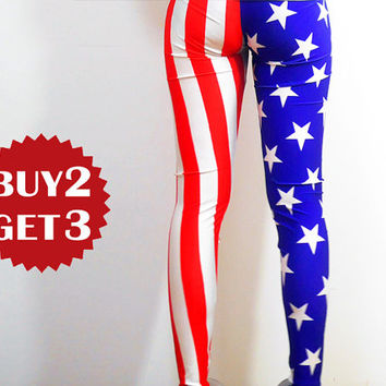 America Flags Apparel Leggings/Summer Yoga Tights/Printed Cool Leggings/Workout Leggings/Women Stretch/Designed Leggings 075
