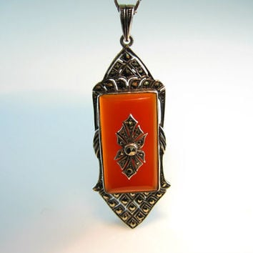 Art Deco Carnelian Necklace. Vintage 1920s Art Deco Jewelry. Art Deco Necklace. Antique Jewelry. Marcasite Sterling Silver Pendant.