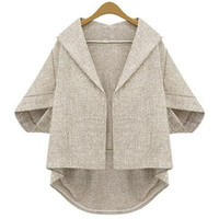 Plain Sleeve Lapel Asymmetrical None-Button Shirt